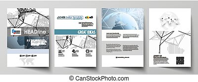 The vector illustration of the editable layout of A4 format covers design templates for brochure, magazine, flyer, booklet, report. World globe on blue. Global network connections, lines and dots.