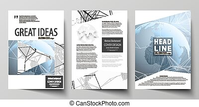 The vector illustration of the editable layout of three A4 format modern covers design templates for brochure, magazine, flyer, booklet. World globe on blue. Global network connections, lines and dots