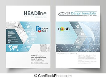 The vector illustration of the editable layout of two A4 format covers with triangles design templates for brochure, flyer, booklet. World globe on blue. Global network connections, lines and dots.