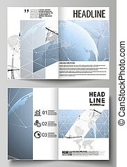 The vector illustration of the editable layout of two A4 format modern cover mockups design templates for brochure, flyer, booklet. World globe on blue. Global network connections, lines and dots.
