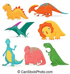 The vector illustration of the set of adorable bright dinosaurs. Cute cartoon dino collection.