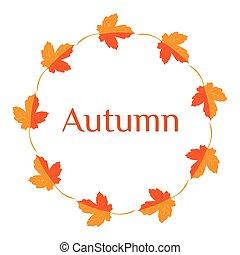 Vector illustration. Wreath of yellow autumn leaves