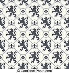 The vector image Heraldic vector background seamless