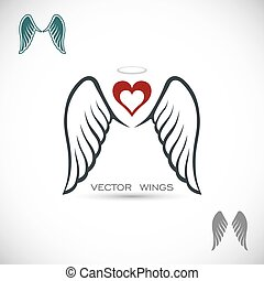 Label with wings and heart