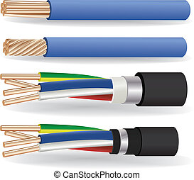 electric copper cables - The vector image of 1-wire and 4-...