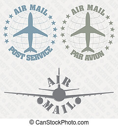 Set of stamps air mail - The vector image of a Set of stamps...
