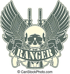 The vector image of color Emblem with a skull and the weapon