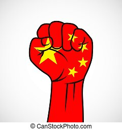 Fist with China flag