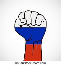 Fist with flag of Russia