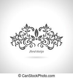 Floral design element on white back
