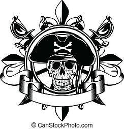 The vector image of piracy skull and steering wheel