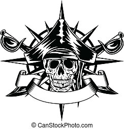 skull and wind rose - The vector image of piracy skull and...