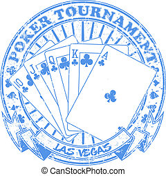 The vector image of Poker tournament stamp