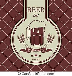 Sample menu with a beer mug - The vector image of Sample...