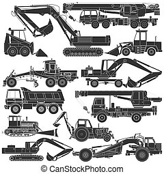 Set of silhouettes of construction - The vector image of Set...