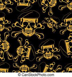Skull emblem in a beret Seamless