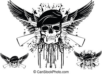 The vector image of skull in beret with the crossed rifles