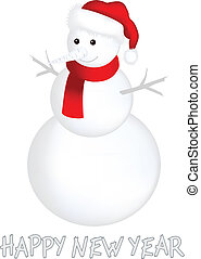 The vector image of snowball in red cap on white background