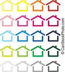 The vector image of the house in various colour shades