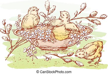 Hand drawing of easter chickens in a plate with flowers