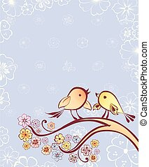 two birds sitting on the blossoming branch.