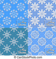 Set of background from snowflakes f
