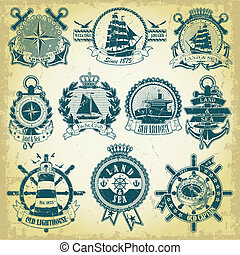 Set of stamp with a nautical theme