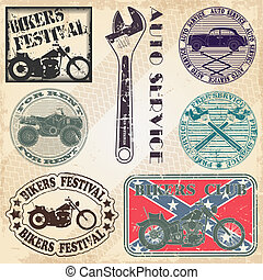 The vector image Set of stamps with the automotive subjects