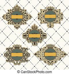 Set of vintage frame with crown