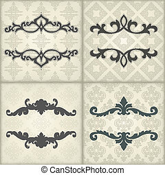 Set of vintage template with floral