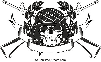 skull in the military helmet