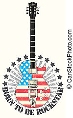 Stamp born to be rock star - The vector image Stamp born to...