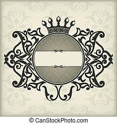 Vintage frame with crown