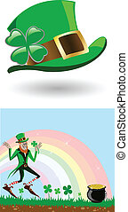 the vector leprechaun with a gold pot