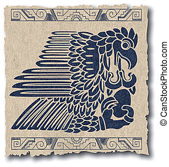 the vector mayan and inca tribal on old paper eps