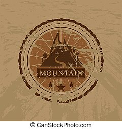 The vector mountain grunge sticker