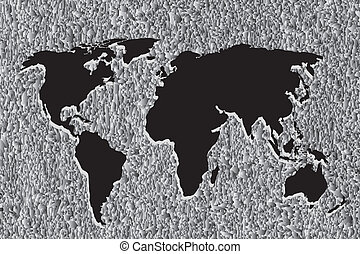 Black Continental of World Map