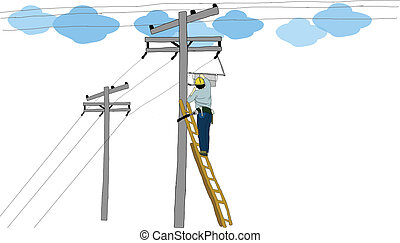 The vector of electrician man - The vector of single...