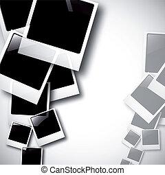the vector old polaroid photos on white background