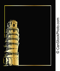 the vector pisa tower eps 8 - the gold vector pisa tower on...