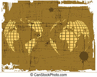 the vector retro grunge world map