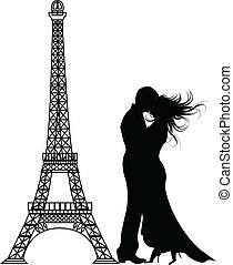 the vector romance paris Silhouette (eps file)