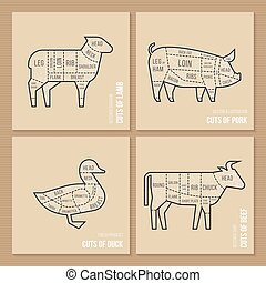 The vector scheme cuts sheep, pork, duck and beef.