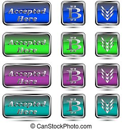 The vector set of buttons with bit-coin symbol.