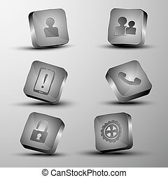 The vector set of different 3d buttons.