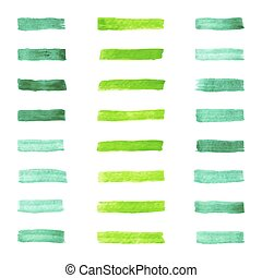 set of watercolor pastel green brushes stroke