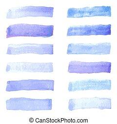 set of watercolor pastel violet brushes stroke
