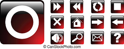 the vector set red web icon