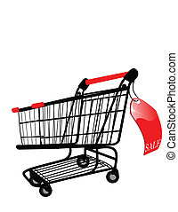 the vector Shopping cart with Sale label