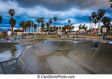 The Venice Skate Park at sunset, in Venice Beach, Los...